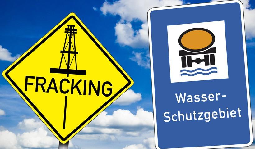 Wasserschutzgebiet und Fracking mit Wolken